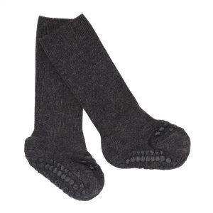 GoBabyGo protišmykové vlnené ponožky Tmavosivá melírovaná