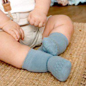 GoBabyGo zateplené protišmykové ponožky Matná modrá