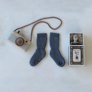 GoBabyGo zateplené protišmykové ponožky Tmavosivá Melírovaná